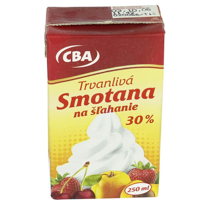 Smotana na šľahanie trvanlivá 30% CBA 250ml
