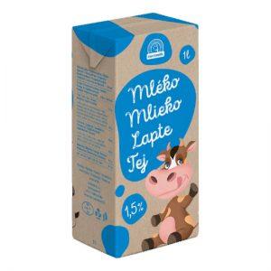 Mlieko trvanlivé polotučné 1,5% Euromilk 1l donáška potravín ZM