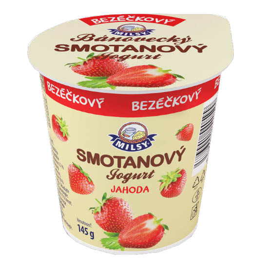 Bánovecký smotanový jogurt jahodový bezéčkový MILSY 145g