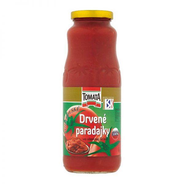 Drvené paradajky vo vlastnej šťave Tomata 700g donáška ZM