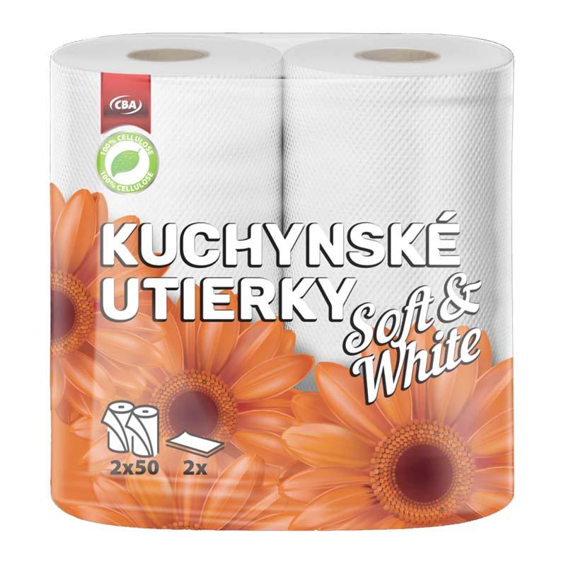 Kuchynské utierky dvojvrstvové Soft & White CBA 2×50 útržkov