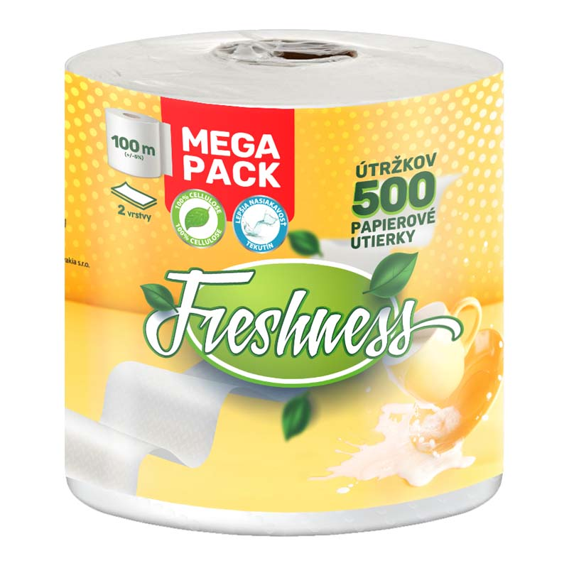 Papierové utierky dvojvrstvové Mega Pack CBA Freshness 100m